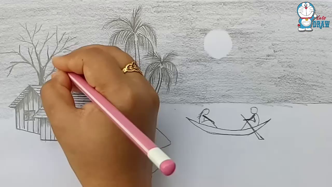 drawing how to draw moonlight night step by step instructions by farjana