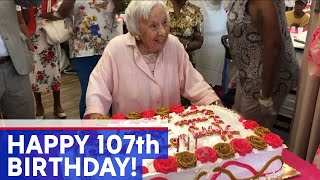 107-year-old woman celebrates birthday with party