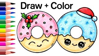 How to Draw + Color Christmas Donuts step by step Easy and Cute