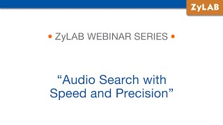 Webinar - Audio Search with Speed and Precision