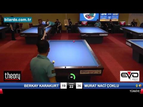 BERKAY KARAKURT & MURAT NACİ ÇOKLU Bilardo Maçı - 2018 - TÜRKİYE 1.LİGİ-Yarı Final
