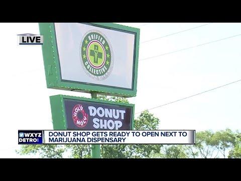Donut shop getting ready to open next to marijuana dispensary