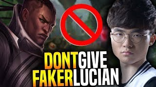 Don't Give Lucian to Faker, he's so good! - SKT T1 Faker SoloQ Playing Lucian Mid!   SKT T1 Replays