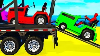 FUN COLOR CARS Transportation - Spiderman Cartoon for Kids w Colors for Toddlers Nursery Rhymes