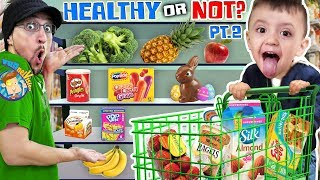 SHAWN goes GROCERY SHOPPING AGAIN!  Healthy Food or Not Vision PART 2 (FUNnel Fam Vlog)