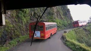 MSRTC BUS CHASING MSRTC BUSES IN AMBENALI GHAT | MSRTC BUS CABIN RIDE | MAHABALESHWAR | KONKAN