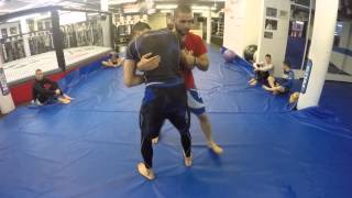 Clinch Takedown - Turning the Corner from Over Under Position - Firas Zahabi