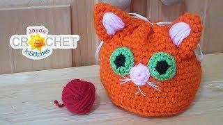 Kitty Cat Drawstring Sack - Loot Bag Crochet Pattern & Tutorial
