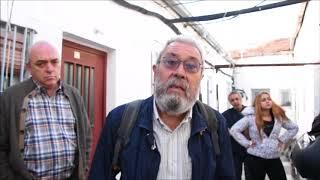 Cándido Méndez en el acto reivindicando la protección de la casa de Peironcely 10