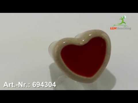 Möbelknopf, Herz, Kinder, Porzellandruck farbig - Braun - Art. Nr.: 694304