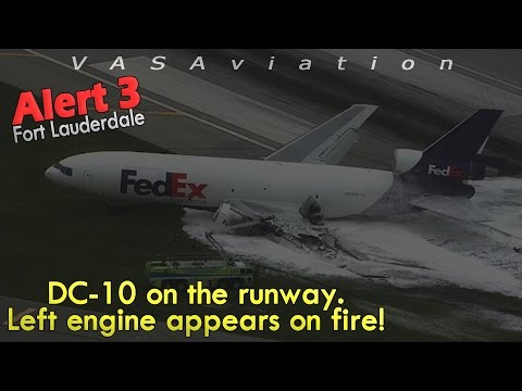 REAL ATC] Fedex MD-10 GEAR COLLAPSES + CAUGHT FIRE at Fort