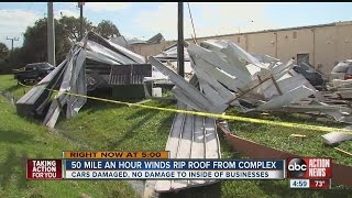 Strong winds blow roof off Ark Plaza shopping center in Venice