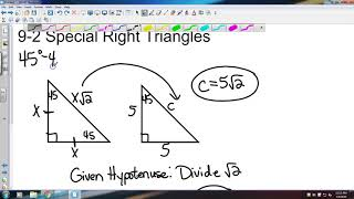 Big Ideas Geometry 9 2 Special Right Triangles