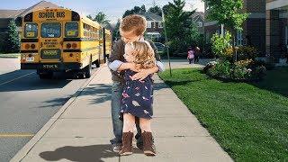 Adorable Babies Wait For Bus