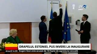 Drapelul Estoniei, pus invers la inaugurarea Consulatului Onorific al Estoniei din Constanța