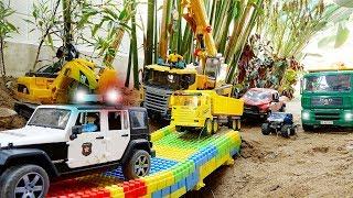 Build Bridge with Excavator Truck Car Toys Rescue Vehicles