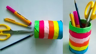 Diy Color Paper Pen Stand/ How To Make Pen Stand/pencil Holder/ Desk Organiser From Paper/KovaiCraft