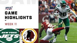 Jets vs. Redskins Week 11 Highlights   NFL 2019