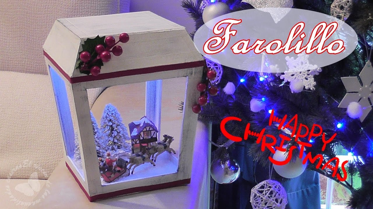 Cómo hacer un farolillo de cartón navideño con luces