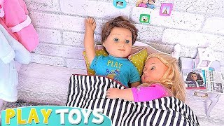 American Girl Baby Doll Morning Routine With Cooking Toys! 🎀