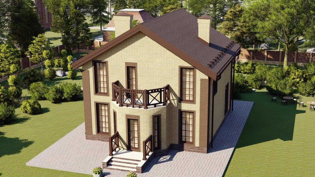 Проект мансардного дома с эркером и балконом 9 на 9 128 м2