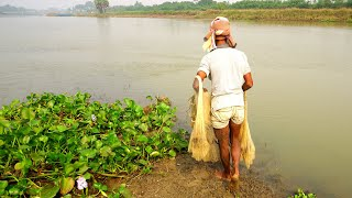 Traditional Cast Net Fishing in River   Fishing from the beautiful river (Part-96)