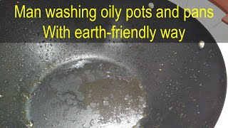 Man washing oily pans (fried meat and vegetables) with earth-friendly way, English Subtitles