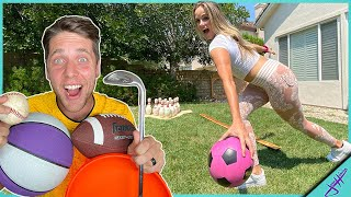 EVERY SPORT Trick Shot GOLF vs Jenna Bandy *Fewest Attempts Wins!*