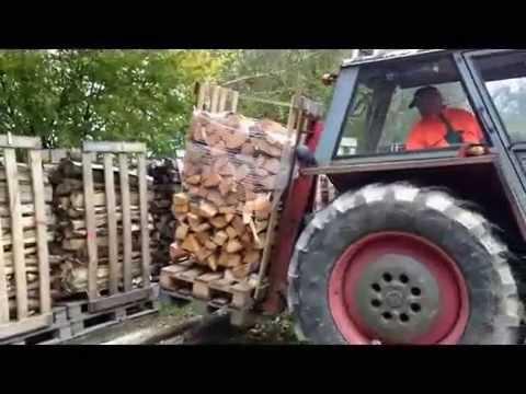 WIP-System / geschnittenes Brennholz auf Europalette lagern