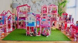 Huge Barbie Dreamhouse Collection! 8 Barbie Dreamhouse Dollhouse Tours and Dolls Play
