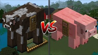 Minecraft COW HOUSE VS PIG HOUSE / MAKE YOUR OWN HOUSE IN MINECRAFT !! Minecraft Mods