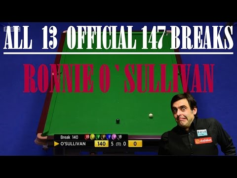 SNOOKER-Collection of all 13 official 147 BREAKS by RONNIE O`SULLIVAN