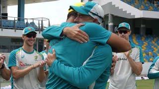 Emotional scenes during triple cap presentation | West Indies v Australia 2021