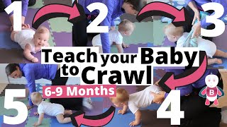 How to teach your baby to crawl in 5 Steps ★ 6-9 Months ★ Baby Exercises, Activities & Development