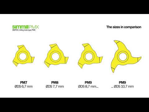 simmill PMX - Milling tools for use in bores between Ø 7,0 mm and Ø 11,0 mm.