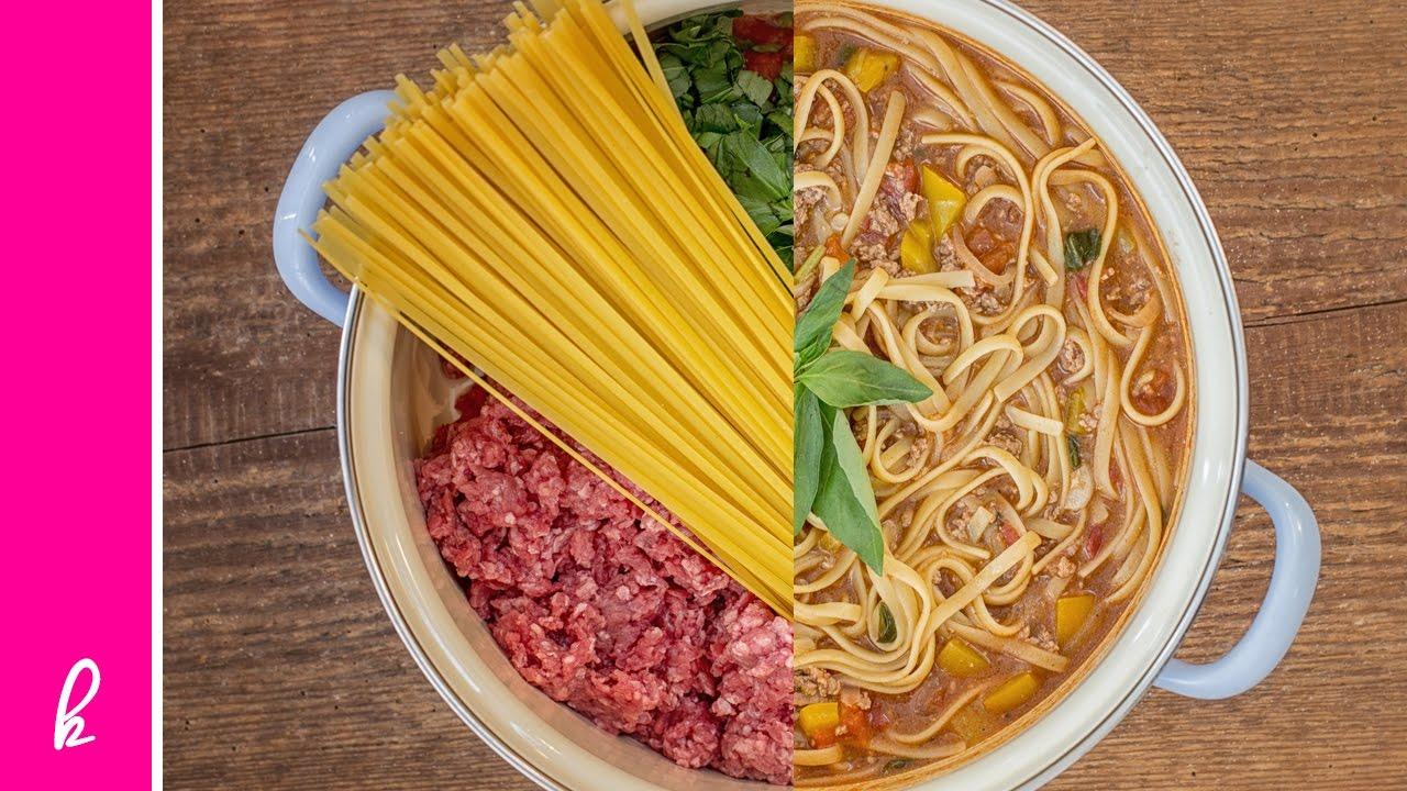One Pot Pasta Week: Hackfleisch & Tomaten mit Bavette