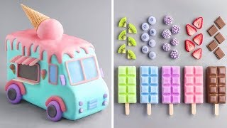Homemade Ice Cream Recipe With Fruit | So Yummy Cake Hacks For Summer | Perfect Cake Decorating