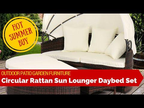 Outdoor Patio Garden Rattan Weave Sun Lounger Day Bed Sofa Furniture Set