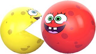 Learning Colors with 3D Pacman Suprise Eggs spongebob squarepants eating ICE CREAM Cartoons for kids