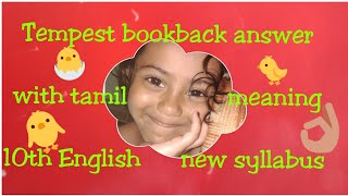Tempest-book back answer-10th std English new syllabus ||My Hobbies  Channel