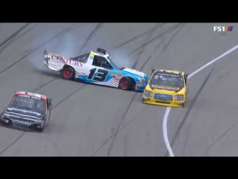 NASCAR Camping World Truck Series 2018. Michigan International Speedway. Myatt Snider Spins