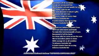 Australia National Anthem ADVANCE AUSTRALIA FAIR with music, vocal and lyrics