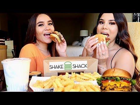 SHAKE SHACK MUKBANG! Burger, chicken sandwich, bacon cheese fries