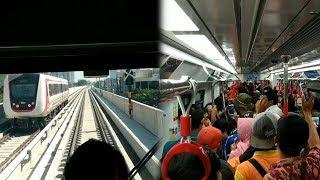 Warga Antusias untuk Ikut Uji Coba LRT dari Stasiun Velodrome