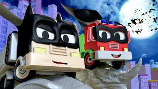 Car garage for kids -  Frank and Baby Frank are Batman & Robin - Tom's Paint Shop in Car City
