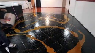 DESIGNER METALLIC EPOXY INSTALLATION ON CERAMIC TILE