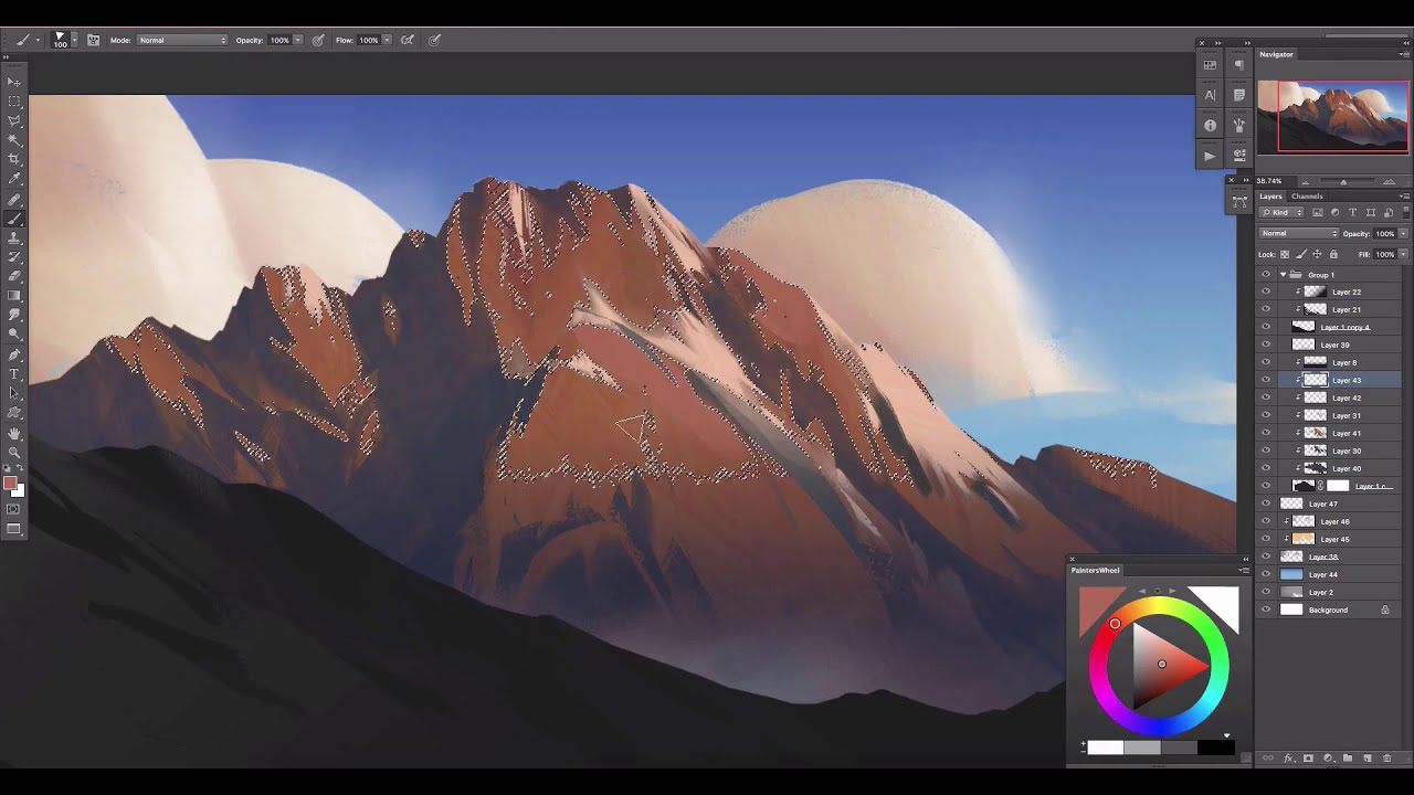 complete digital painting process of a winter mountain by jordan grimmer