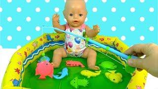 #Бебибон в Бассейне Куклы Пупсики Играют в Рыбалку и Слайм Игрушки Для детей Как мама