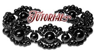 Смотреть онлайн Черный винтажный браслет из бусин и бисера