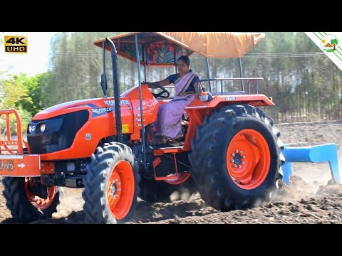 village lady driver | Kubota MU5501 4WD tractor | Lady Driving Tractor | Come To Village
